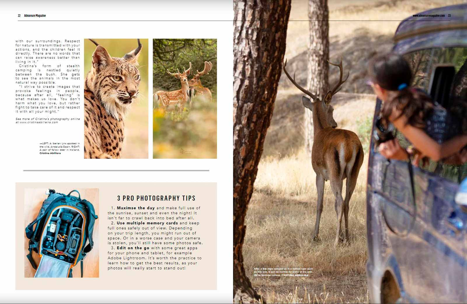 Fotos de una revista sobre aventuras